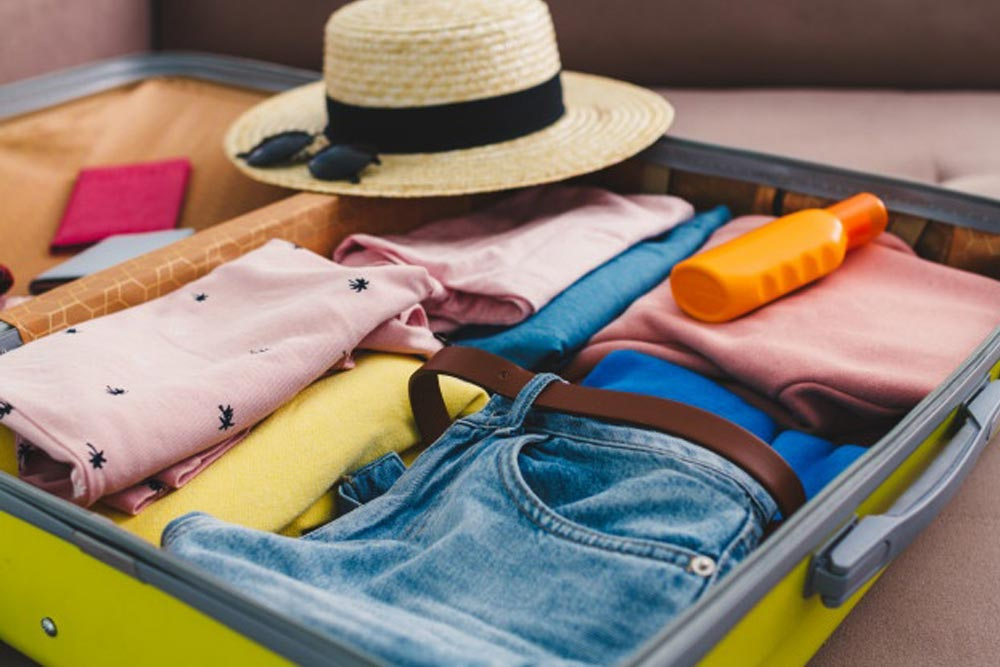 a vacation packed suitcase
