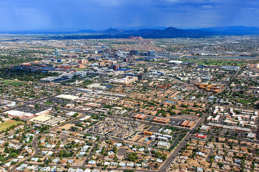 Monsoon storm over the Arizona desert and cities of Tempe, Phoenix and Scottsdale
