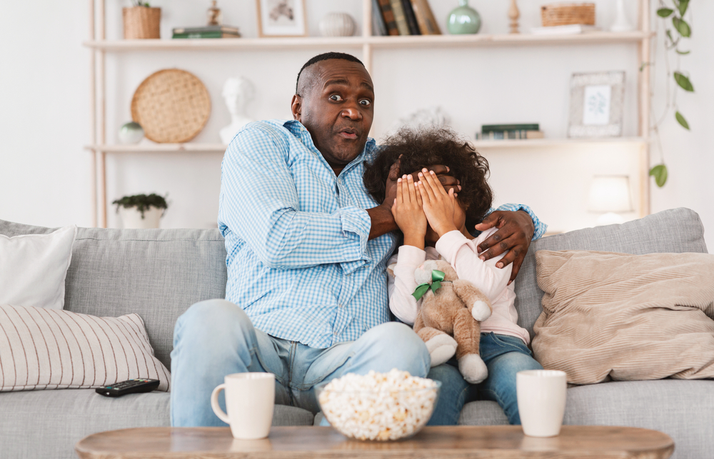 grandparent spending time in home with kids